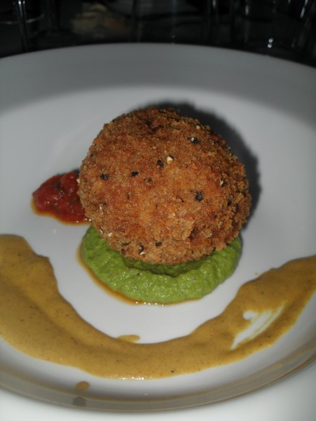 Spiced Burford Brown Hen Scotch Egg with yuzu tomato chutney,