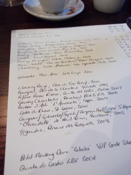 handwritten wine list