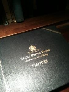 Berry Bros & Rudd visitor book