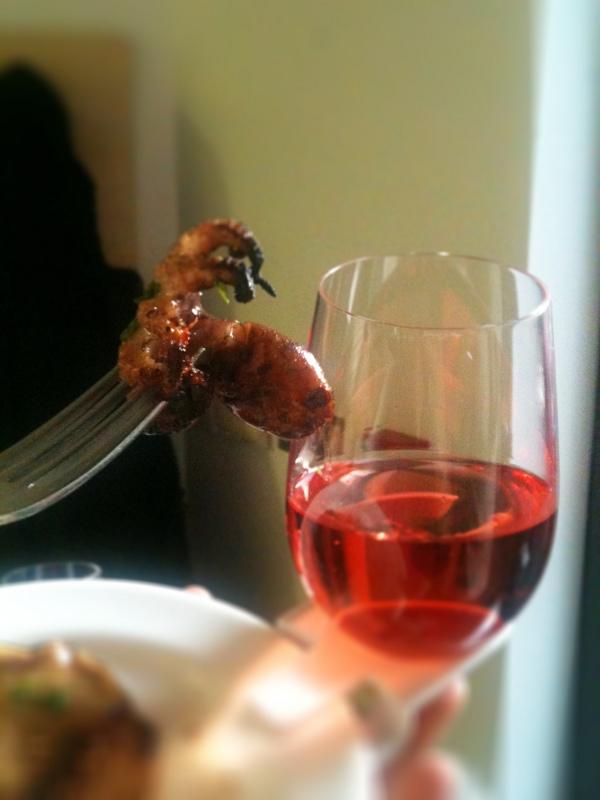 Tiny grilled octopus (paired with a Prieure de Montezargues Tavel Rosé 2011)