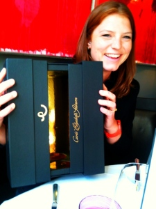 Cordelia Rosa from Billecart-Salmon showing off the new packaging without the bottle...