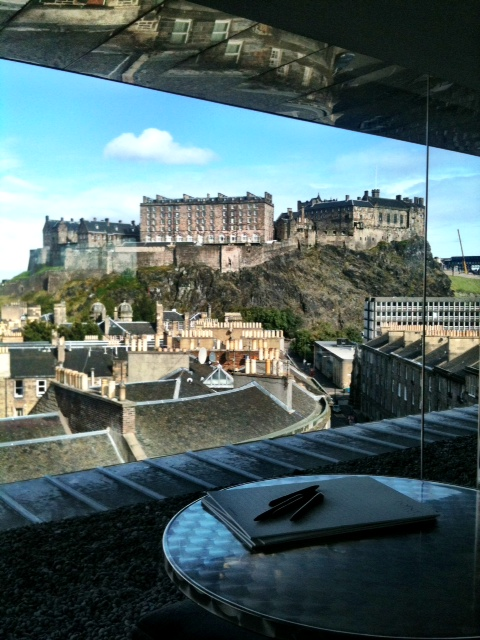 View of Edinburgh Castle from the tasting table
