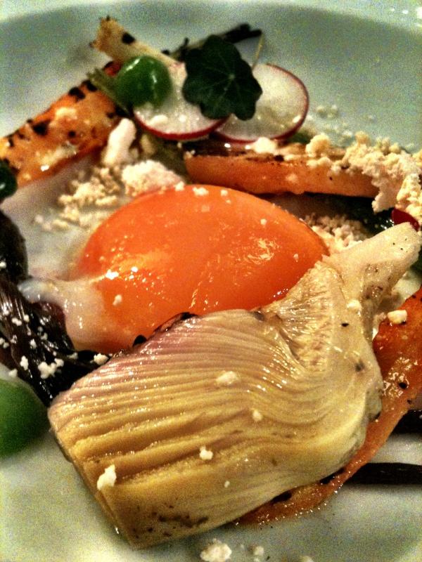 smoked egg and artichoke hearts