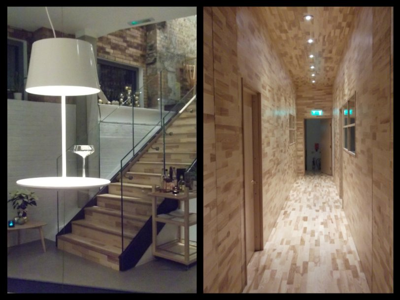 """floating table"" and blonde wood hallway"